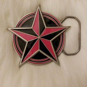 Norcal Star pink & black belt buckle